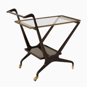 Italian Ebony Stained Wood, Glass, & Brass Service Cart, 1950s