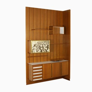 Teak, Formica & Messing Wandregal mit Siebdruck, 1960er