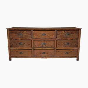 Vintage French Pine Apothecary Bank of Drawers