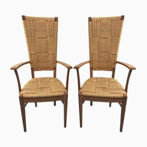 Vintage High Back Chairs by Audoux-Minet, Set of 2