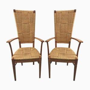 Vintage Stühle mit Hoher Rückenlehne von Audoux-Minet, 2er Set