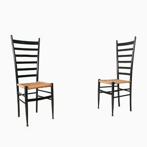 Italienische Chiavari Stühle mit Hoher Rückenlehne, 1950er, 2er Set