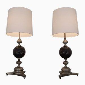 Versilberte Schwarze Mid-Century Messing Tischlampen von Maison Jansen, 1960er, 2er Set