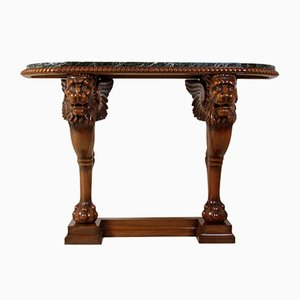 Lion Console Table in Carved Walnut and Marble, 1920s