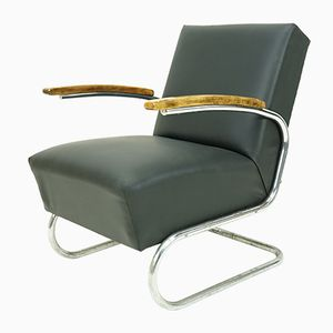 Vintage Cantilever Armchair in Black Leather from Mücke Melder