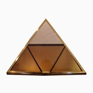 Vintage French Brass Pyramid Display Case, 1960s