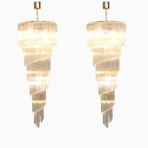 Spiralförmige Kronleuchter aus Murano Kristallglas von Venini, 1960er, 2er Set