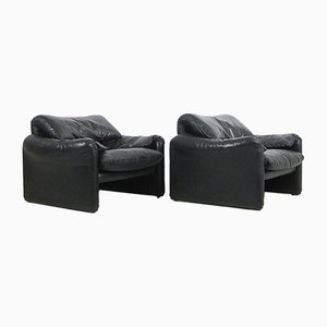 Maralunga Lounge Armhairs by Vico Magistretti for Cassina, 1973, Set of 2