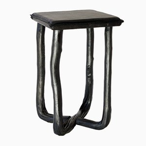 Pressed Wood Black Stool from Johannes Hemann