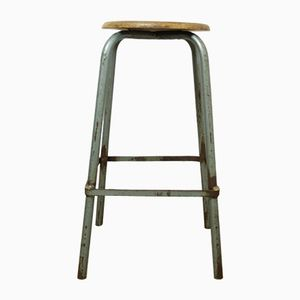 Mid-Century French Wood & Metal Industrial Stool
