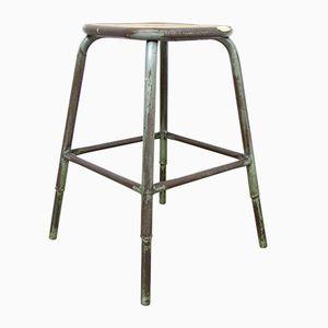 Vintage French Industrial Wood & Metal Stool