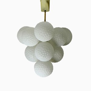 White Glass & Metal Snowball Chandelier, 1960s