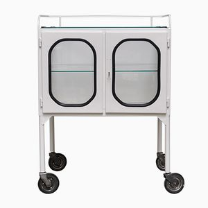Vintage Medicine Trolley with Rounded Windows, 1970s