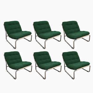 Italian Chairs in Chrome and Fabric, 1970s, Set of 6