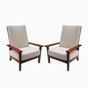 Vintage Scandinavian Adjustable Armchairs, Set of 2