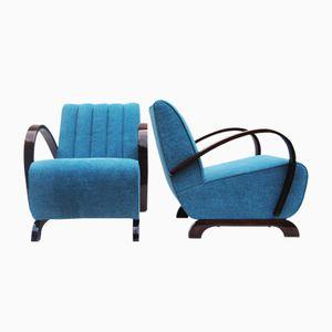 Vintage Blue Armchairs by Jindřich Halabala, Set of 2