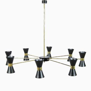 Mid-Century Messing Deckenlampe mit 16 Leuchten