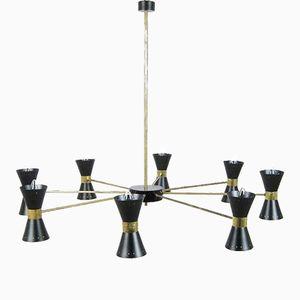 Plafonnier Mid-Century en Laiton avec 16 Lampes