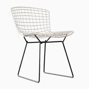 Wire Chair in Black & White by Harry Bertoia for Knoll International, 1960s