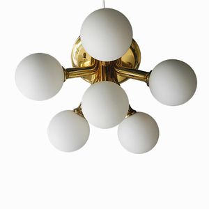 Space Age Brass Ceiling Lamp with 6 Opal Glass Globes from Kaiser, 1960s