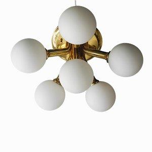 Space Age Messing Deckenlampe mit Sechs Opalglas Kugelleuchten von Kaiser, 1960er