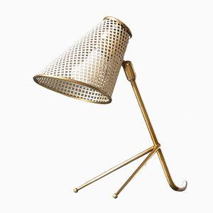 Modernistische Perforierte Mid-Century Messing Lampe mit Dreibein von Vereinigte Werkstätten