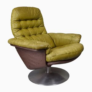 Swedish Green Leather Swivel Lounge Armchair from Dux, 1970s