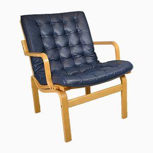 Danish Blue Leather Armchair, 1970s