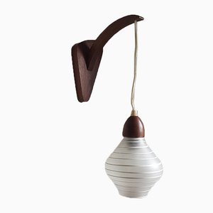 Vintage Teak Wooden Wall Lamp with Glass Shade from Philips, 1950s
