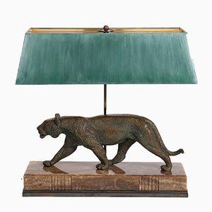 Französische Art Deco Lampe mit Panther Förmigem Fuß von Rulas, 1920er