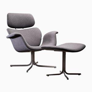 F545 Armlehnstuhl mit Hocker von Pierre Paulin für Artifort, 1973