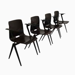Vintage S22 Chairs with Armrest and Compass Legs from Galvanitas, 1970s, Set of 4