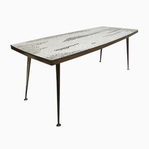 Table Basse en Laiton & Mosaïque, Allemagne, 1950s
