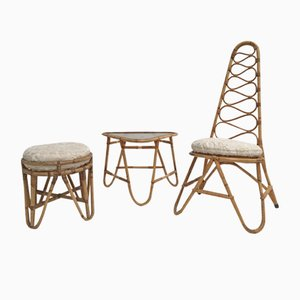 Rattan Stool, Table & Highback Chair with Faux Fur Cushions from Rohé Noordwolde, 1950s