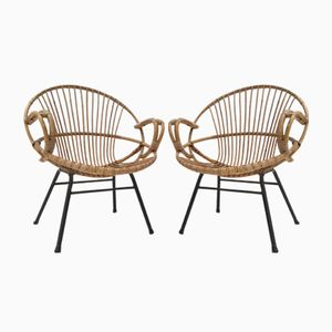 Dutch Rattan Chairs from Rohé Noordwolde, 1950s, Set of 2