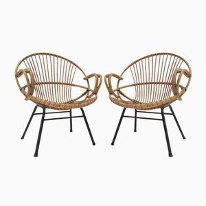 Niederländische Rattan Stühle von Rohé Noordwolde, 1950er, 2er Set
