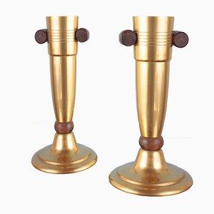 Französische Vergoldete Art Deco Aluminium und Palisander Vasen, 1930er