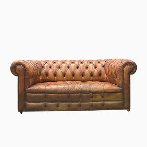 English Art Deco Cognac Leather Chesterfield Two-Seater Sofa, 1940s