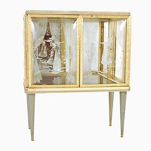 Italian Glass & Metal Bar Cabinet, 1950s