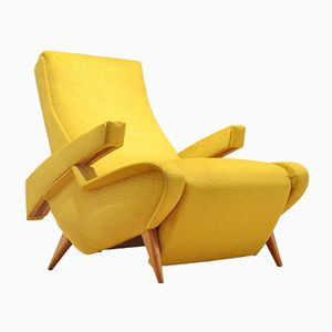 Chaise Longue Vintage Inclinable Jaune Moutarde