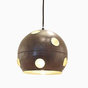 Yellow Glass & Acid Etched Copper Pendant Lamp by Nanny Still for Raak
