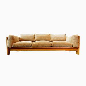 Divano Mid-Century in quercia con cuscini di velluto a coste