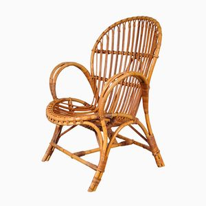 Vintage Rattan Easy Chair, 1950s