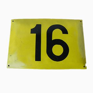 Vintage Enameled Metal Sign Number 16