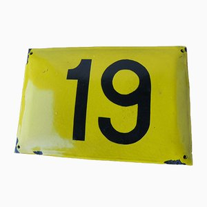 Vintage Enameled Metal Sign Number 19