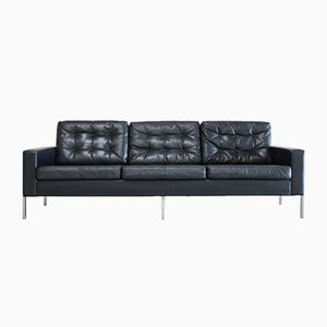 Vintage German Black Leather Sofa, 1960s