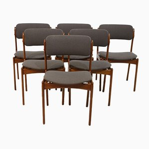 Teak Dining Chairs by Erik Buch for Oddense Maskinsnedkeri A/S, 1960s, Set of 6