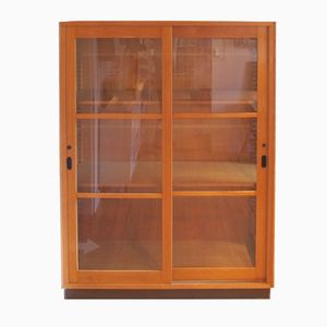 Vintage Display Cabinet with Sliding Doors
