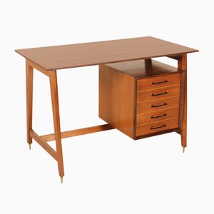 Vintage Italian Desk with Drawers in Beech, Teak Veneer and Brass