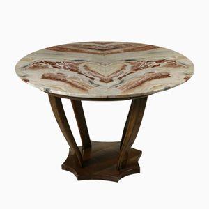 Table Vintage en Noyer Teinté et Marbre, Italie